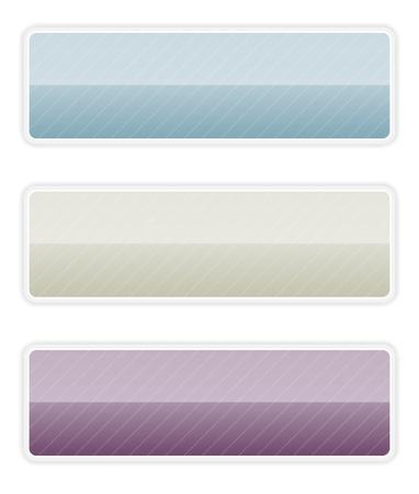 De set van blauw, grijs en donker paarse blanco knop ernstige knop set