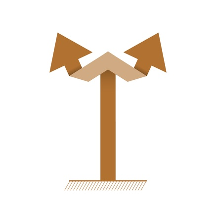Simple graphic element made out of two connected arrows   brown double arrow Vector
