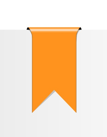 The blank orange label in the shape of ribbon   orange ribbon Vector