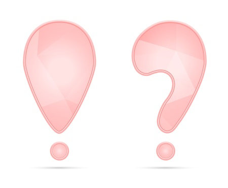 Pink exclamation and question mark with subtle geometric pattern   pink punctuation Stock Vector - 19540935