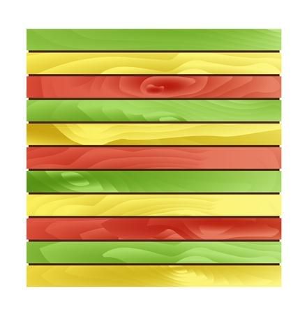 шпон: Масштабируемый фон сделаны из зеленых, желтых и красных деревянных плит Ямайка стиль древесины плиты Иллюстрация
