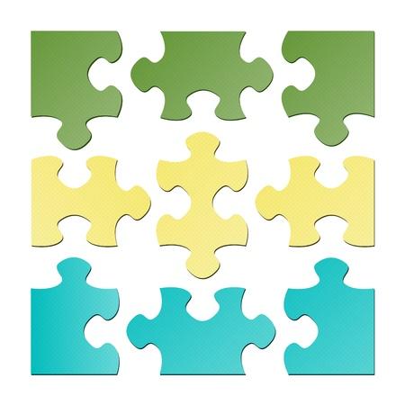 El conjunto de nueve piezas de un rompecabezas aislados las piezas del rompecabezas aislados Foto de archivo - 19540950