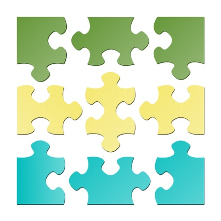 The set of nine isolated puzzle pieces   The isolated puzzle pieces Vector