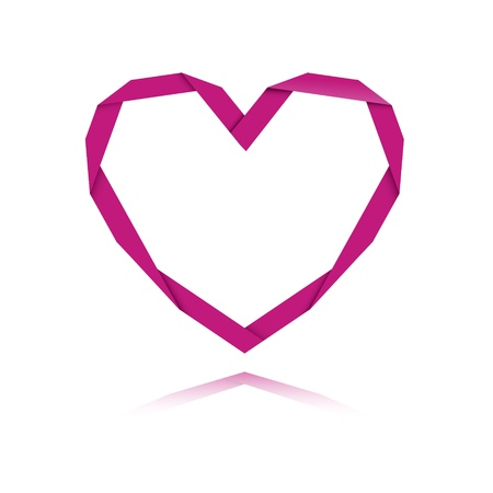 The origami style pink heart graphic symbol   The origami heart Vector