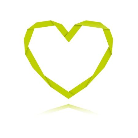 De origami stijl groene hart grafisch symbool De origami hart