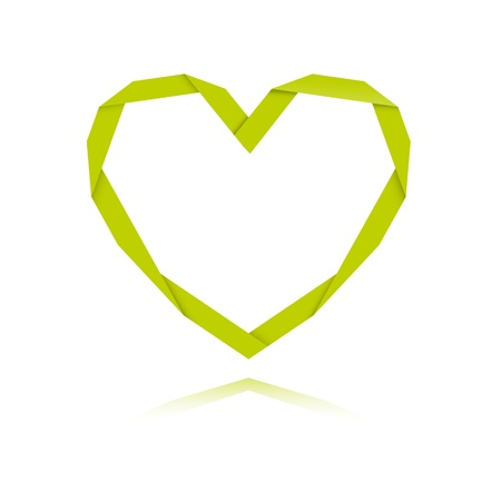 shiny heart: The origami style green heart graphic symbol   The origami heart