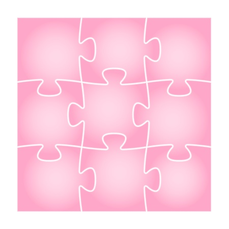 Set of nine isolated pink puzzle pieces in the square composition   puzzle background Stock Vector - 19898471