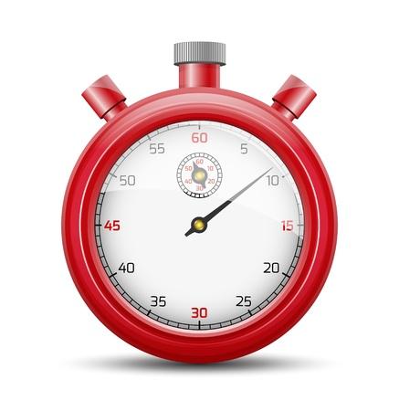 De geïsoleerde stopwatch grafisch element met schaduw De rode stopwatch
