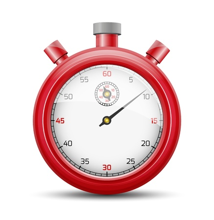 The isolated stopwatch graphic element with shadow   The red stopwatch