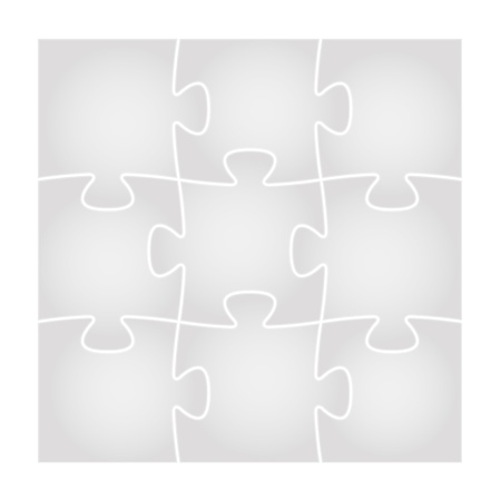 Set of nine isolated grey puzzle pieces in the square composition   puzzle background