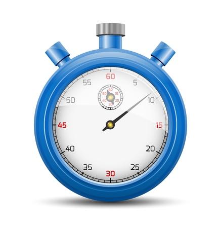 De geïsoleerde stopwatch grafisch element met schaduw De blauwe stopwatch
