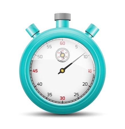 De geïsoleerde stopwatch grafisch element met schaduw De levendige blauwe stopwatch