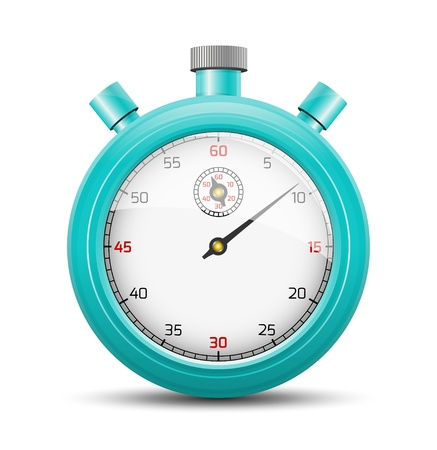 The isolated stopwatch graphic element with shadow   The vivid blue stopwatch