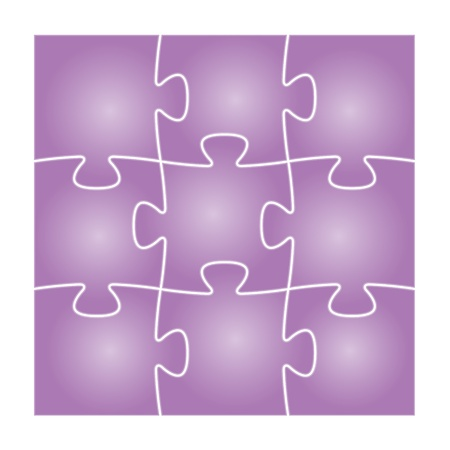 Set of nine violet isolated puzzle pieces in the square composition   puzzle background Stock Vector - 19898551