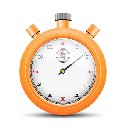 De geïsoleerde stopwatch grafisch element met schaduw De levendige oranje stopwatch De stopwatch