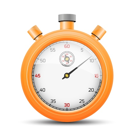 The isolated stopwatch graphic element with shadow   The vibrant orange stopwatch   The stopwatch
