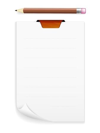 De nota bord met blanco stuk papier en potlood De noteboard met een potlood