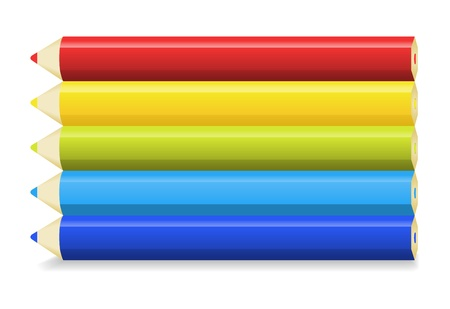 The set of red, yellow, green, light blue and blue color pencils   The set of multicolor pencils   Color pencils