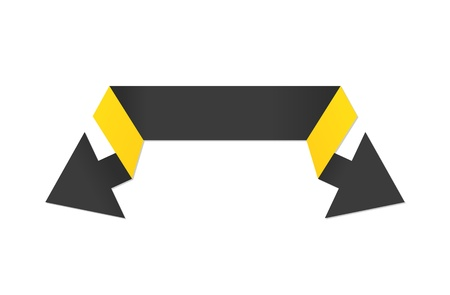 The black and yellow modern origami style double arrow   The black double arrow   The arrow Vector
