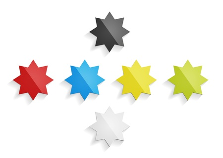 The set of red, blue, yellow, green, black and grey stars Vector