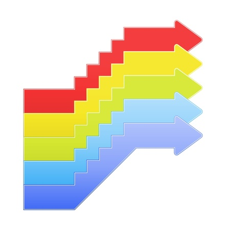 The set of red, yellow, green, light blue and blue upstairs graphic element