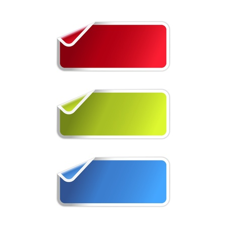 The set of red, green and blue rectangle labels with bent corner