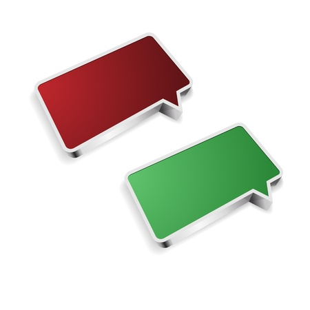 The set of red and green blank speech bubbles Illustration