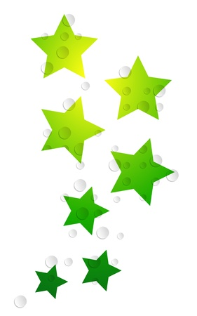 sprightly: The abstract background made out of green stars and transparent bubbles