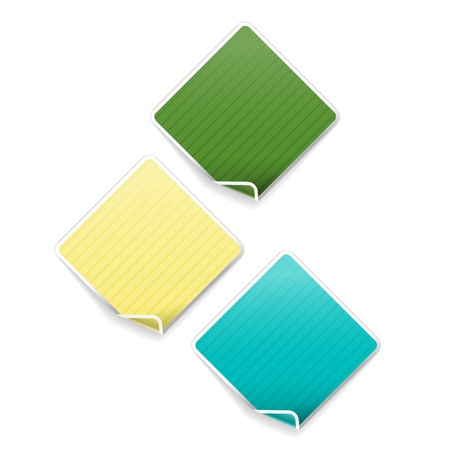 The set of three square labels with bent corner Illustration