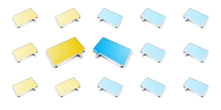 The communication pattern made out of yellow and blue speech bubbles