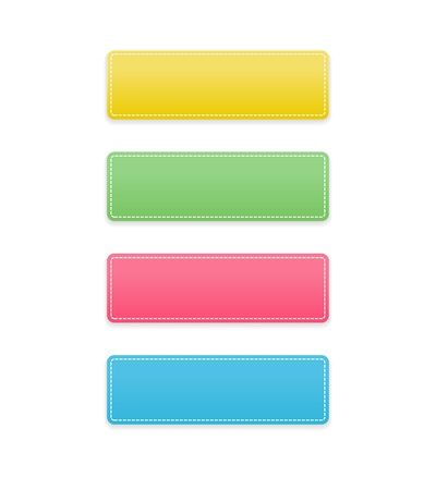 stitched: The set of yellow, green, pink and blue rectangle buttons with a stitched effect