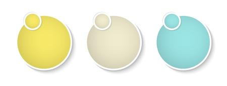 The set of three blank circle templates with circle tag Illustration