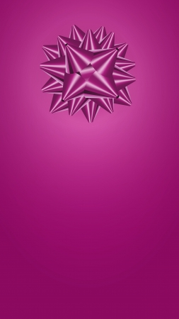 The blank template for greeting card in violet color with a gift bow