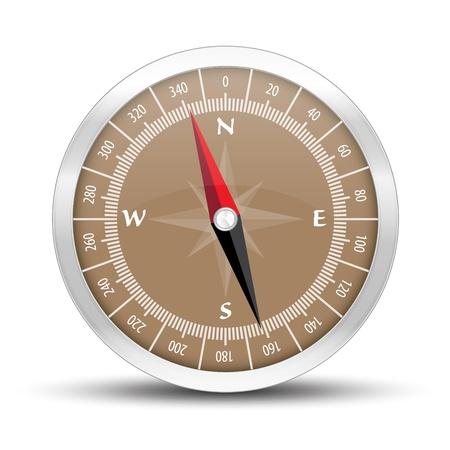 De illustratie van zilver kompas pictogram met subtiele schaduw
