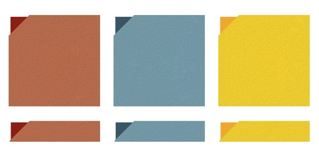 The set of brown, blue and yellow templates and buttons with grunge pattern Vector