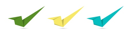 The set of green, yellow and blue origami style accept signs