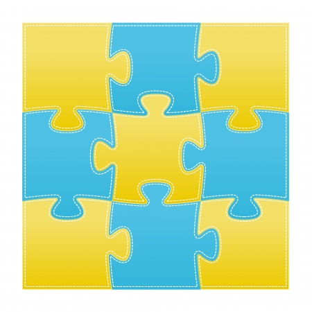 The set of nine isolated puzzle pieces Vector