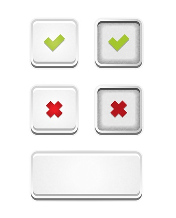 The set of accept, false and blank white button Stock Vector - 21264065