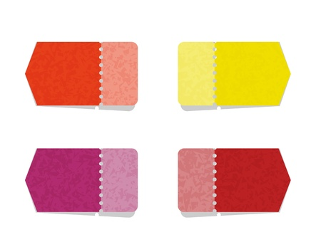 perforation: The set of blank orange, yellow, violet and red arrows with perforation Illustration