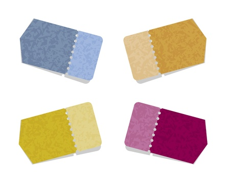 perforation: The set of blank blue, yellow, violet and brown arrows with perforation