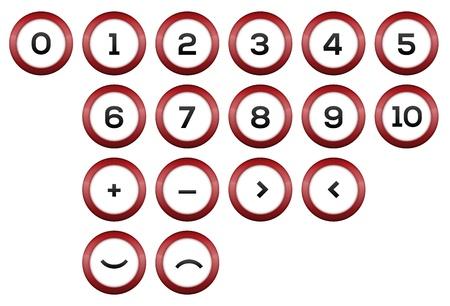 De set van nummers en abstracte symbolen Stock Illustratie