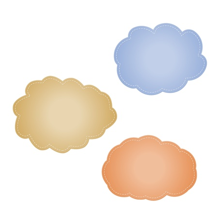 The set of blue, brown and orange stitched clouds