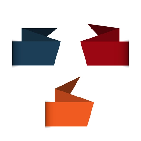 claret: Blank blue, claret and orange origami style label ready for your text Illustration
