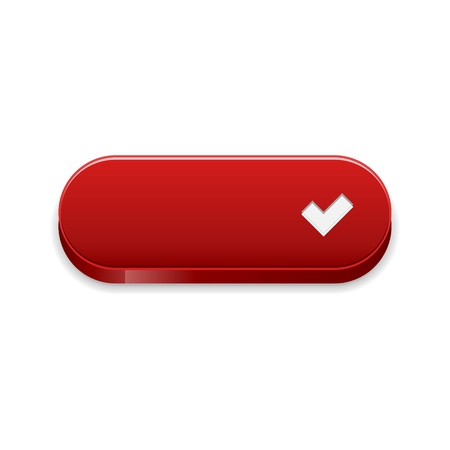 The red button with white accept symbol Stock Vector - 21529659