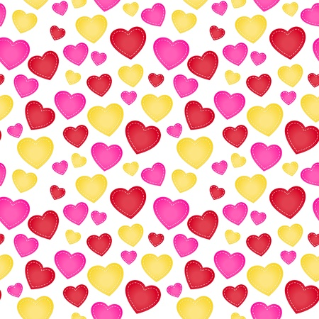 The love seamless pattern background made out of stitched style hearts Vector