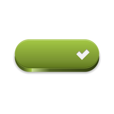 The green button with white accept symbol Stock Vector - 21529656