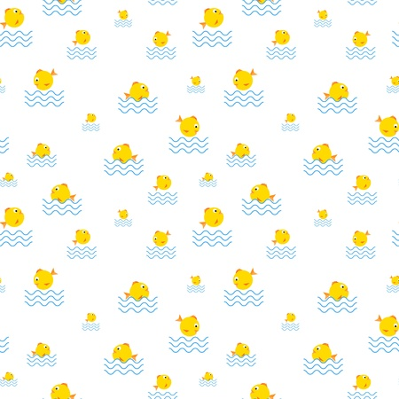 The abstract seamless  background  made out of yellow fish in various actions
