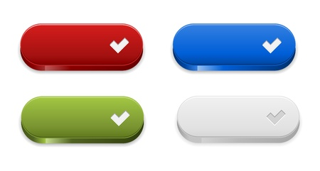 The set of red, green, blue and grey ok buttons Stock Vector - 21675284