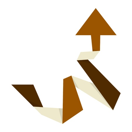 wrest: The origami style brown arrow