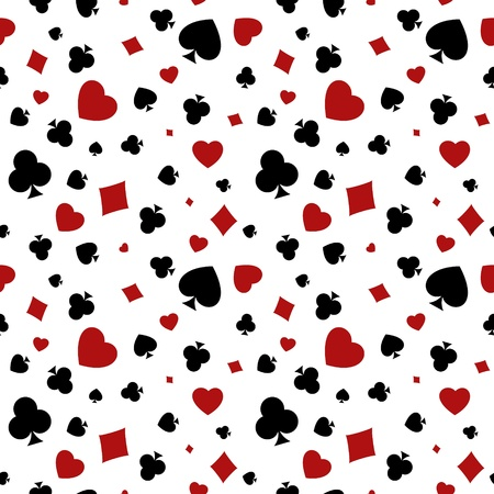 The seamless pattern made out of playing cards symbols